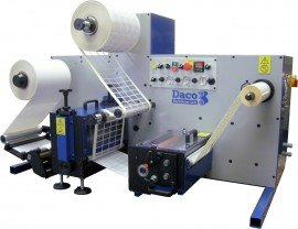 Daco DTD 250 tabletop rotary die cutter for the production of blank labels with optional second rewind