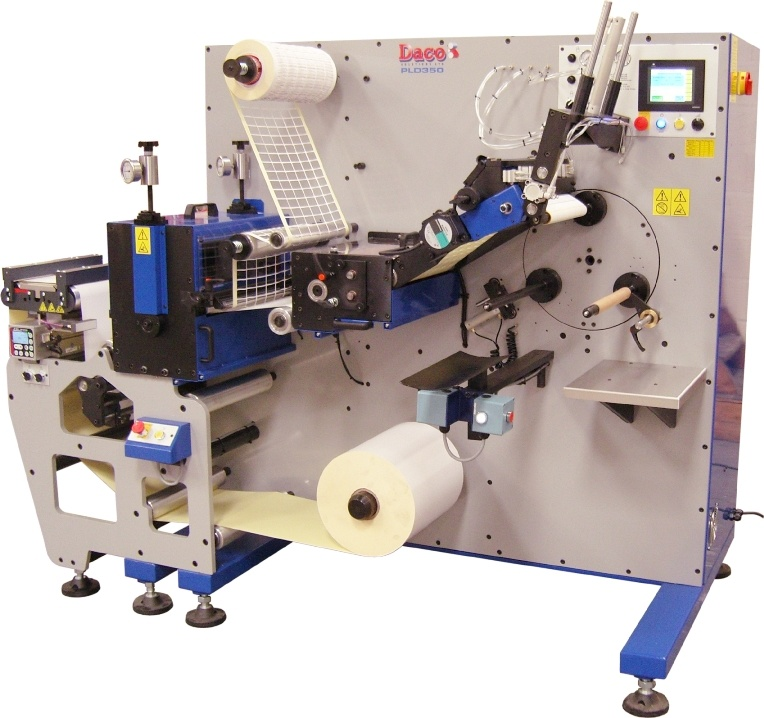 Daco PLD350 rotary die cutter with sem-automatic turret rewinder