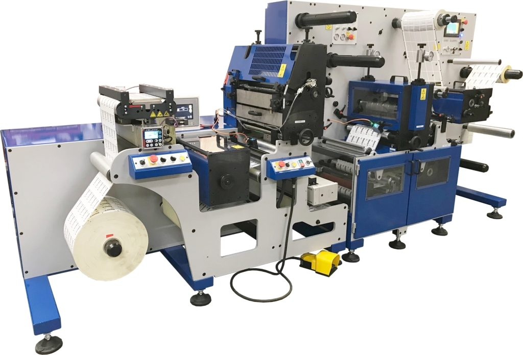 Daco DF350SR semi-rotary die cutter for the finishing of digitally printed labels