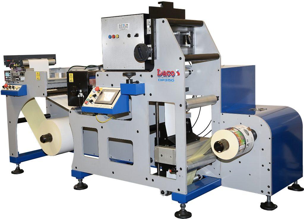 Daco DP350 Digital Label Press with a Inkjet Solutions cmyk UV inkjet system