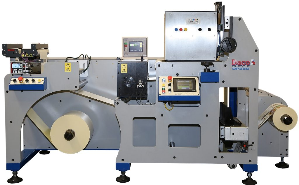 Daco DP350 Inkjet Platform with a Inkjet Solutions UV inkjet heads and Meech web cleaner