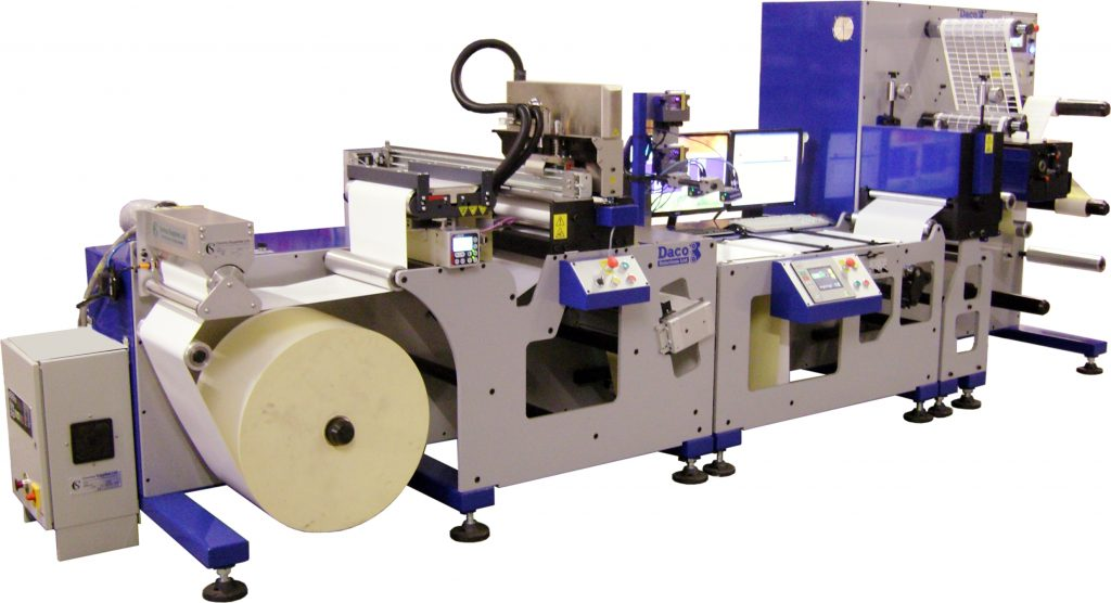 Daco DP350 inkjet platform with Domino K600i mono UV inkjet print unit and inline rotary die cutting