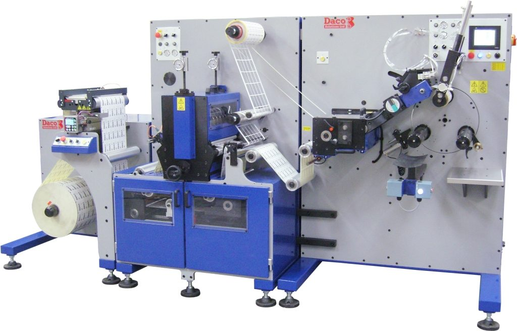 Daco PLD350 3 spindle semi-automatic turret rewinder semi-rotary die cutting